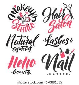 Logo Beauty Vector Lettering. Custom handmade calligraphy.