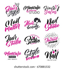 Logo Beauty Vector Lettering. Nail Studio and Hair Salon. Custom handmade calligraphy.