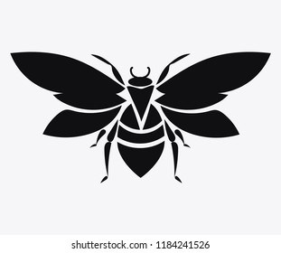 Logo of the bee. Black and white bee icon. Vector illustration. Stylized insect.