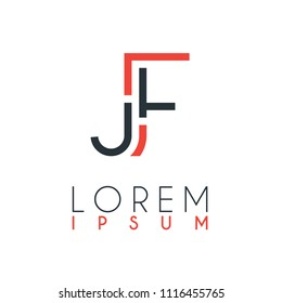 The logo between the letter J and letter F or JF with a certain distance and connected by orange and gray color