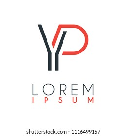 The logo between the letter Y and letter P or YP with a certain distance and connected by orange and gray color