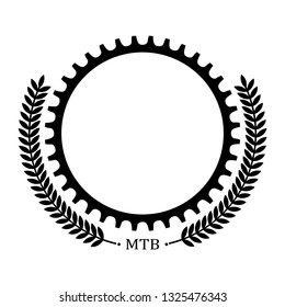 Logo with bicycle chainring and decoration leaves. Place for text.