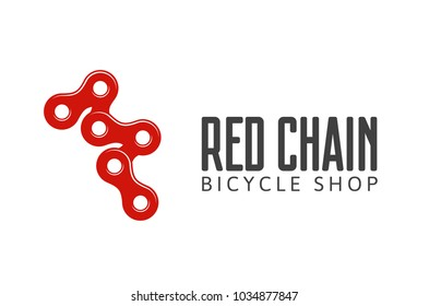 Logo bike chain isolated vector illustration. Logotype of bicycle parts shop