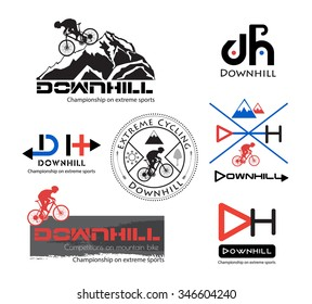 Logo Bike Downhill, Mountain bike logo isolated. Mountain bike symbol. Bike logo, bike logo Active. The bike logo. Bike icon.Mountain bike logo. Mountain bike silhouette