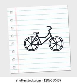 logo bike. symbol vector image on a piece of paper. vector illustration