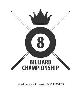 Logo for Billiard school, club or shop. Vector illustration