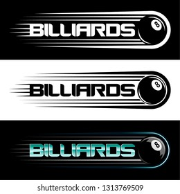 Logo Billiards vector, with the image of a billiard ball number 8 with the effect of acceleration