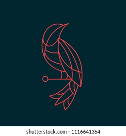 Logo bird from lines on a dark background