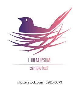 logo with a bird in a nest