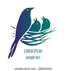 logo with a bird in a nest with chicks