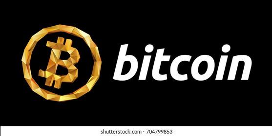 Logo Bitcoin on blockchain technology. Polygonal concept logo Bitcoin on black background. Bitcoin vector sticker for web or print. blockchain