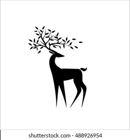 Logo Black deer/the black silhouette of a deer. Isolated/Vector illustration/icon deer