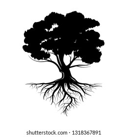 Logo of a black tree with roots and leaves. Vector illustration icon isolated on white background.