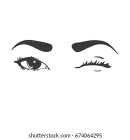 Logo blinking eyes and brow. Hand drawing vector illustration, black on white background.