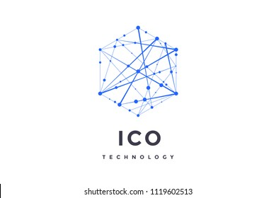 Logo for blockchain technology. Hexagon with connected lines for logo, brand, label, emblem, branding of smart contract block symbol. Design for decentralized transactions. Vector Illustration