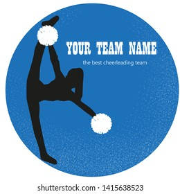 Logo blue, silhouette cheerleader girls with pompoms.Cheerleading teams web banner.