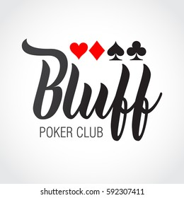 Logo Bluff and card suits. Vector illustration.