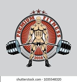 Logo of a bodybuilder lifting a heavy barbell. Very Angry Bodybuilder. Logo with bodybuilder for T-shirt. Vector illustration