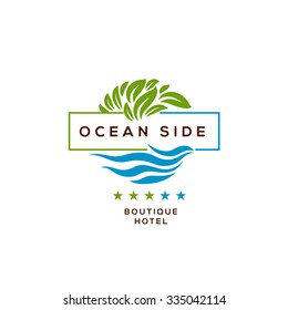 Logo for boutique hotel, ocean view resort, logo design, vector illustration.