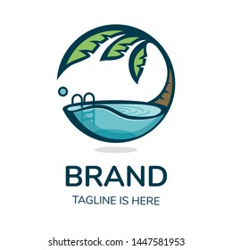 Logo Brand Pool Nature Palm Tree