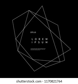 Logo with bronze and gold geometric polyhedron shape on black background. Vector trendy design for logo, frame, poster, banner, sign, card. Modern abstract element