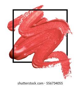 Logo brush paint texture design acrylic stroke poster illustration vector over square frame. Lipstick makeup brush background. Concept for beauty salon, cosmetics label, cosmetology procedure, visage.