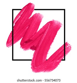 Logo brush paint texture design acrylic stroke poster illustration vector over square frame. Lipstick makeup brush background. Concept for beauty salon, cosmetics label, cosmetology procedure, visage.