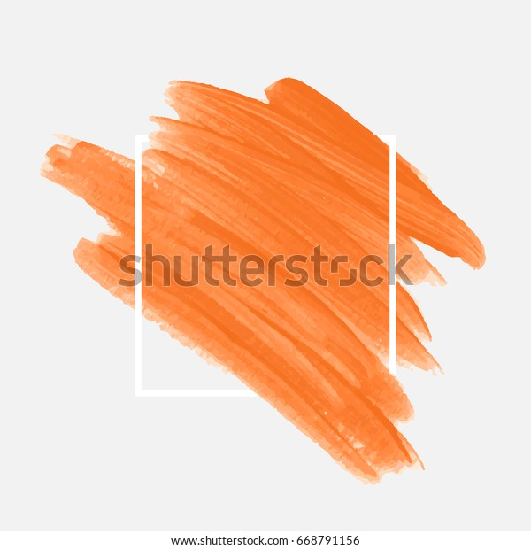 Logo brush painted acrylic abstract background design illustration vector over square frame. Perfect watercolor design for headline, logo and sale banner.