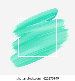 Logo brush painted watercolor abstract background design illustration vector over square frame. Perfect acrylic design for headline, logo and sale banner.