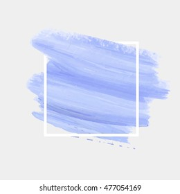 Logo brush painted watercolor background. Art abstract brush paint texture design acrylic stroke poster over square frame vector illustration. Perfect design for headline, logo and sale banner.