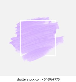 Logo brush painted watercolor background. Art abstract brush paint texture design acrylic stroke over square frame vector illustration. Perfect design for headline and sale banner.