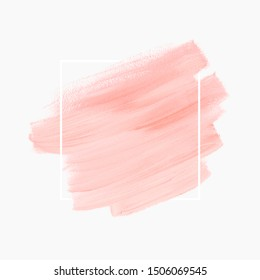 Logo brush stroke painted watercolor background vector over square frame. Perfect make-up design for any creative ideas.