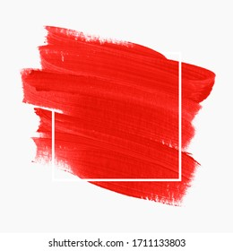 Logo brush stroke painted watercolor background vector over square frame. Perfect design for headline and sale banner.