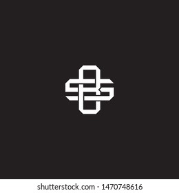 Logo BS B S SB initial monogram locked style with black and white colors