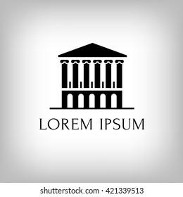 Logo building with columns. Theatre. Museum. Bank. Academy. Vector