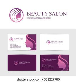 Logo and business card design templates for beauty or hair salon, spa, cosmetics, makeup, face or skin care center with beautiful woman profile