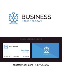 Logo and Business Card Template for Atomium, Landmark, Monument vector illustration