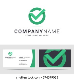 Logo and business card template in flat style. Check mark icon. Origami style with overlapping effect. Vector illustration.