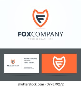 Logo and business card template with fox sign and letter F. Vector illustration.