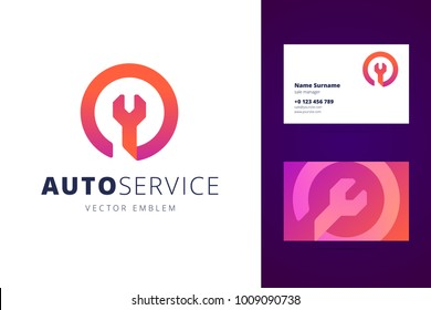 Logo and business card template, layout for auto service, repair service, system administrator, car service. Wrench orange sign, origami, overlapping style. Vector illustration.
