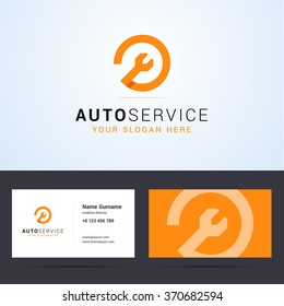 Logo and business card template, layout for auto, car, repair service. Wrench orange sign, origami, overlapping style. Vector illustration.