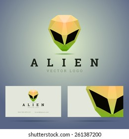 Logo and business card template with polygonal alien head sign. Vector illustration.