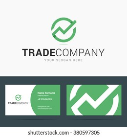 Logo and business card template for trade company. Line chart sign. Trend up logo in paper, origami style. Vector illustration in flat style