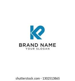 Logo Business Design letter, kp, pk, Illustration P dan  K Abstract - Vector