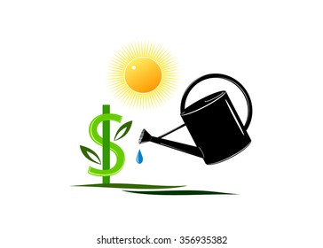 logo business. A sign dollar in the form of a tree with leaves and a watering can with a water drop