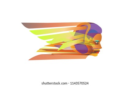 logo Business women, flight. Abstract Creative biz girl concept, vector icon of for Web and Mobile Applications isolated. Vector illustration template design, Business infographic and social media.