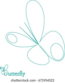 Logo butterfly flat isolated and editable. Icon vector on white background