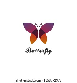 logo butterfly on isolated white background