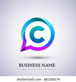 logo C letter colorful on circle chat icon. Vector design for your application or company identity.
