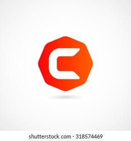 Logo C letter. Isolated on white background. Vector illustration, eps 10.